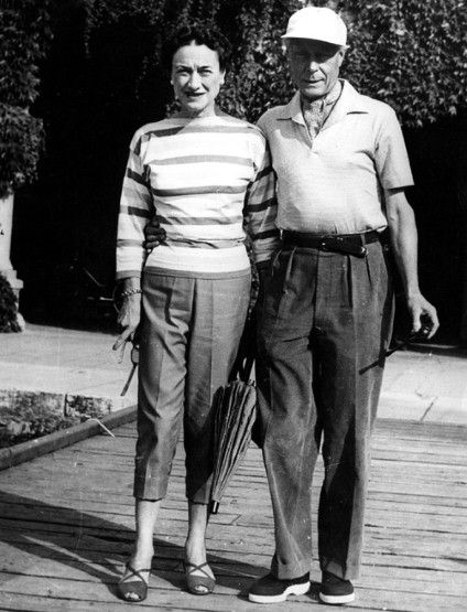 """Channeling Chanel in a Breton striped top and capri pants in 1950. """"She was chic but never casual. Her style was urban, and even her visits to the newly fashionable French Riviera revealed her to be,polished but not relaxed.  Simpson interpreted """"casual"""" as slim blue shifts and beach pajamas in the '30s and silk slacks for Palm Beach in the '50s.  23 1/2 -inch waist"""
