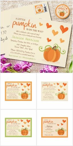 A Little Pumpkin Is On The Way! Autumn themed baby shower invitations for the arrival of a Halloween or fall due date baby boy or girl #Ad