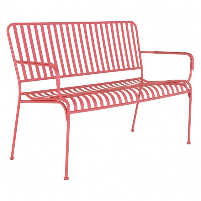 Sensational Indu Pink Metal Slatted Garden Bench With Arms Buy Now At Machost Co Dining Chair Design Ideas Machostcouk