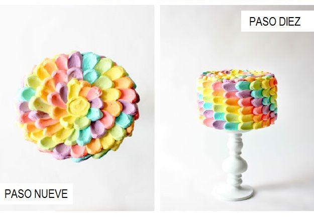 Decoración de  pastel  de pétalos de colores. Final