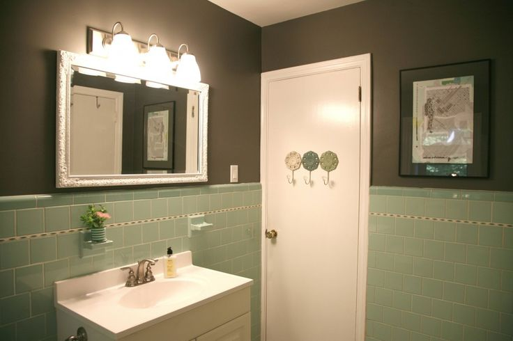 Great idea - a little gray paint and suddenly the seafoam green bathroom doesn't look so bad!