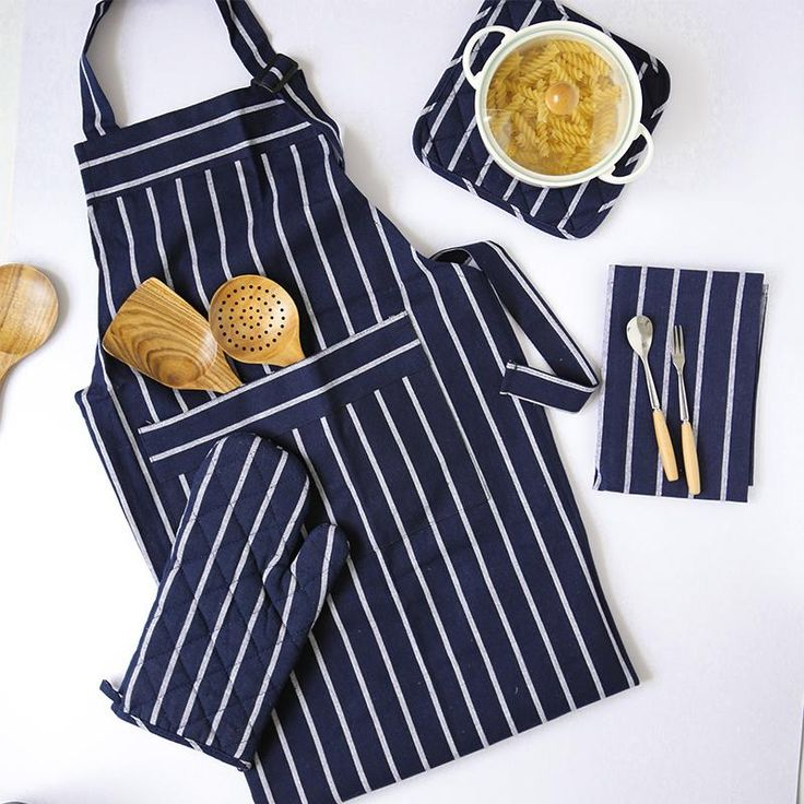 4pc Matching Cotton Kitchen Set (Apron, Oven Mitt & Mat, Table Mat/ Dish Towel)