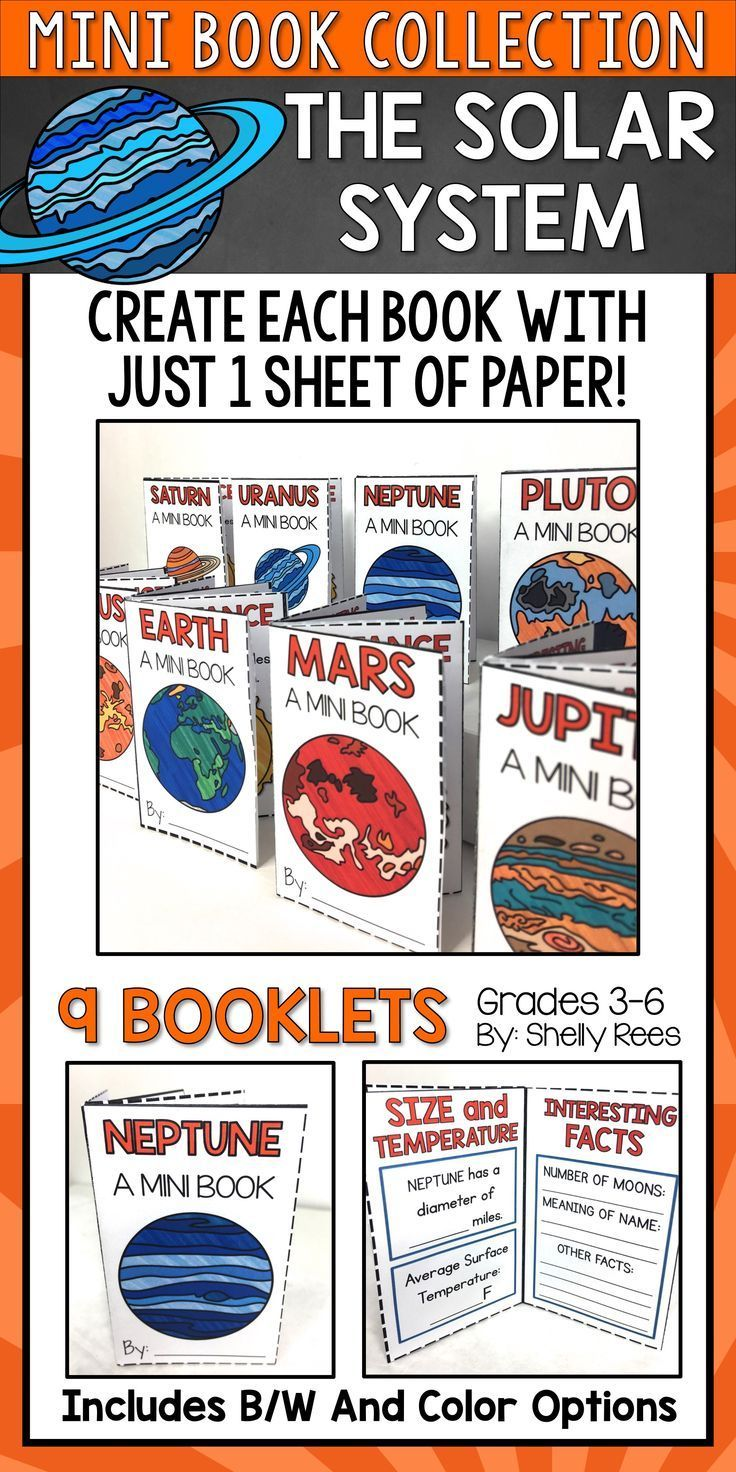 Solar System Activities for Kids - Your students will LOVE creating these fun, interactive, foldable books for each of the planets! These easy to use printables are perfect for 3rd, 4th, 5th, and 6th grade students! Teachers love that each booklet takes just one sheet of paper and NO glue, tape, or staples! What a great idea for a Solar System project in the classroom!