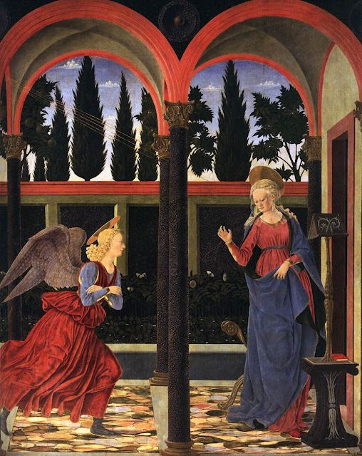 Alessio Baldovinetti, 1447: The Annunciation. Today is a major feast, remembering the day the angel announced to Mary that she would bear the Messiah.