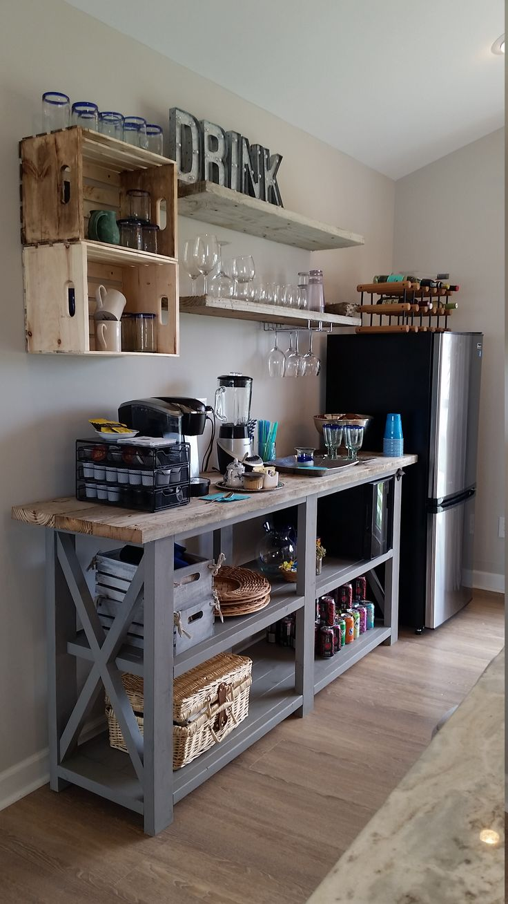 Simple Diy Kitchenette Rustic X Beach Beverage Center