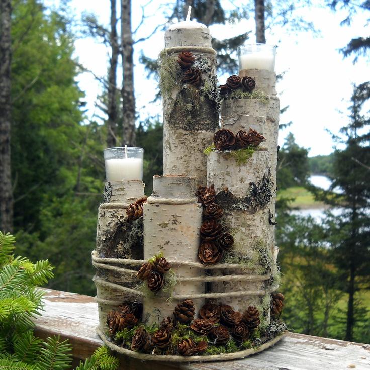 I kinda like it  unity candle   blended family   White birch log   with candles. $85.00, via Etsy.