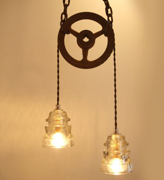 Industrial+Chic+Vintage+Insulator+&+Pulley+Wheel+by+TronaTradingCo,+$185.00