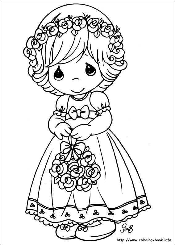 Floral girl - Precious Moments coloring pages.                              …                                                                                                                                                                                 Mais