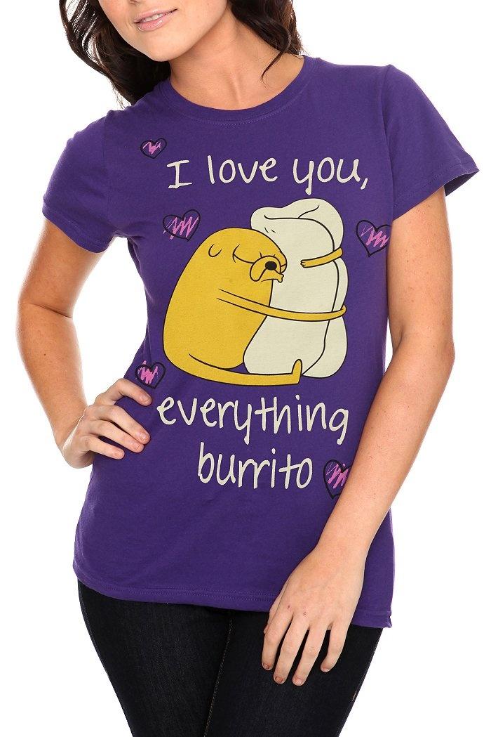 Adventure Time T-Shirt from http://www.hottopic.com/hottopic/Apparel//Adventure+Time+Love+Burrito+Girls+T-Shirt-140140.jsp