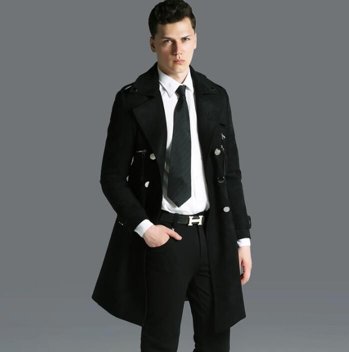 Autumn winter 2017 new designer mens leather velvet trench coats man long coat men clothes slim fit overcoat long sleeve black
