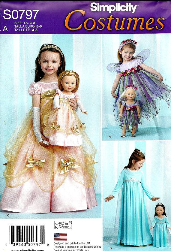 Sewing Pattern to Make Frozen Elsa Dress For Little Girls And To Fit Her American Girl Doll! Also Matching Princess and Fairy Costumes! Patterns included for: Elsa Let It Be Ice blue dress with over garment for girl and doll princess dress with short puffed sleeves, overskirt, bow