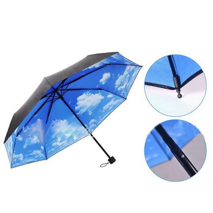 2015 New Umbrellas The Super Anti-UV Umbrellas Sun Protection Parasols Rain Umbrella Blue Sky 3 Folding Gift