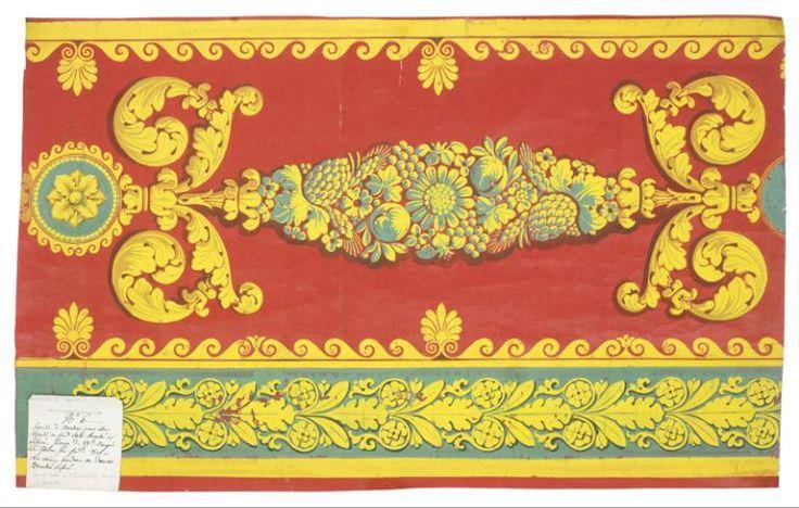 Jean-François Bony (Givors, 24 février 1754 - Paris, 1825) (dessinateur) ; Maison Grand frères (fabricant), Projet à l'échelle de la bordure douze pouces avec son talon quatre pouces pour portières et cantonnières pour le Grand Salon de l'Impératrice au Palais de Versailles, Lyon, commandé en 1811, livré en 1813. MT 44234.2. Don Tassinari et Chatel, 1989  © Musée des Tissus, Sylvain Pretto