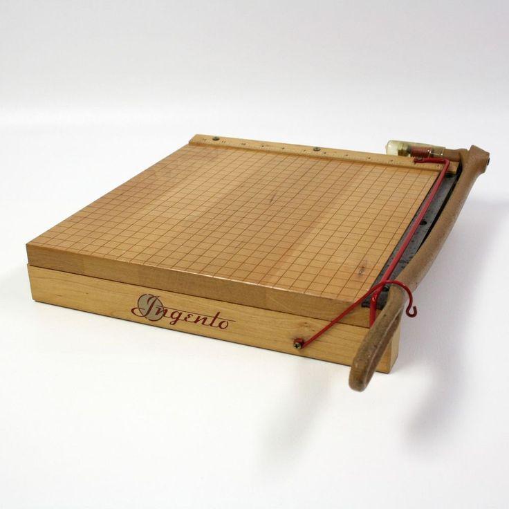 """Vtg Ingento 1132 Guillotine Paper Cutter 12"""" Natural Wood Base Solid Sharp Trim #Ingento"""