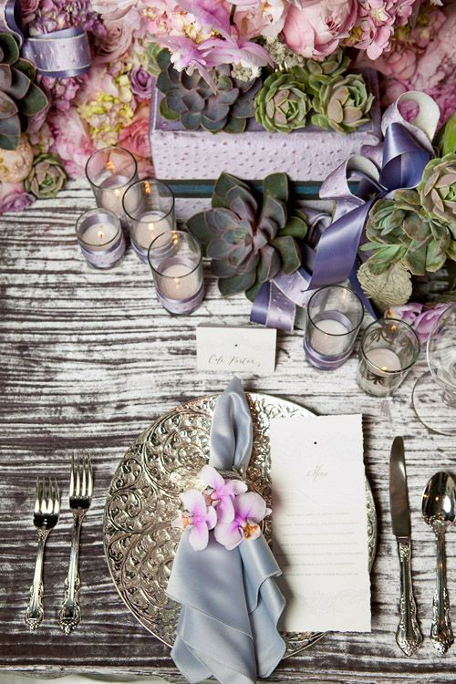 Elegant pink, lavender and silver Coco Chanel inspired table setting by Callaway Gable Photography via JunebugWeddings.com.