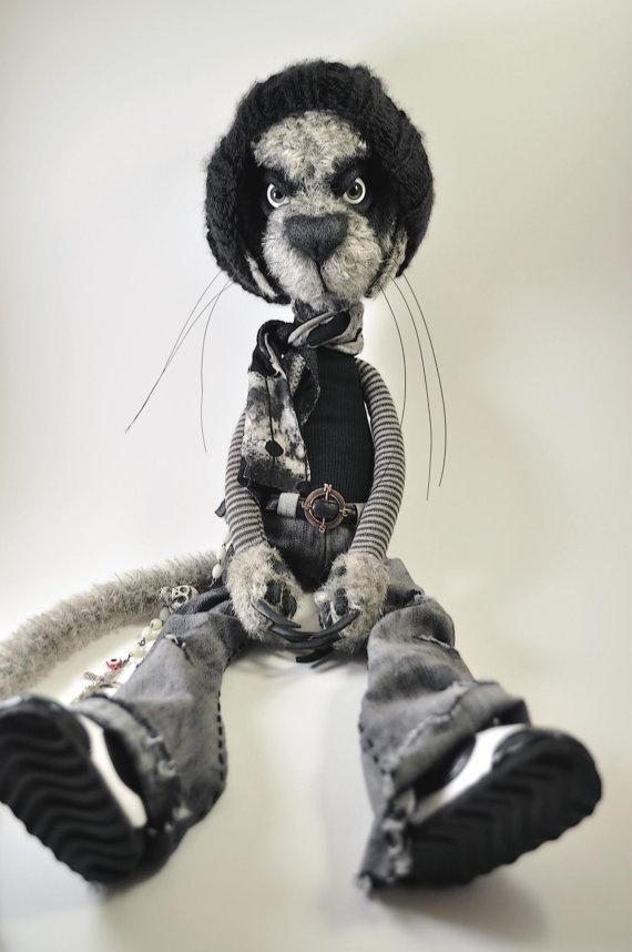 Creepy Cat Johnny. 20'' tall. OOAK plush doll.