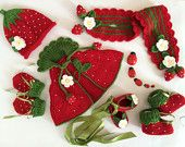 Baby Set With Hat,Poncho,Mitten,Booties,Scarf and Ballerina Shoes,Knitted, Strawberry