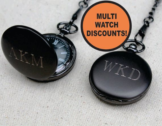 Personalized Gunmetal Pocket Watch - Groomsmen Gift - Fathers Day Gift - Wedding Party Gift - Engraved, Customized, Monogrammed for Free
