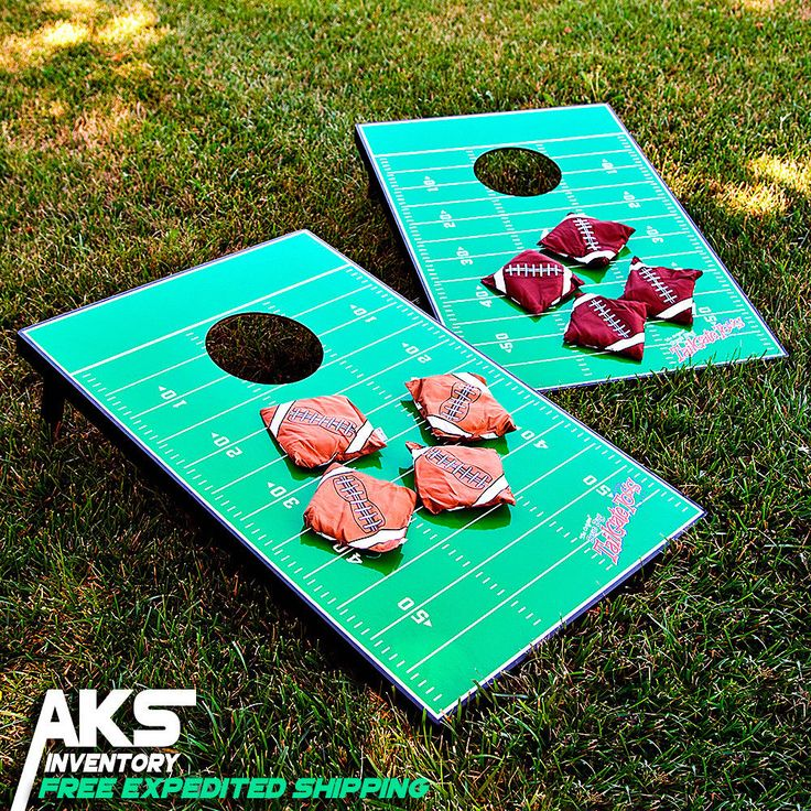 The Football Field Tailgate Toss Cornhole Set takes the excitement outside.
