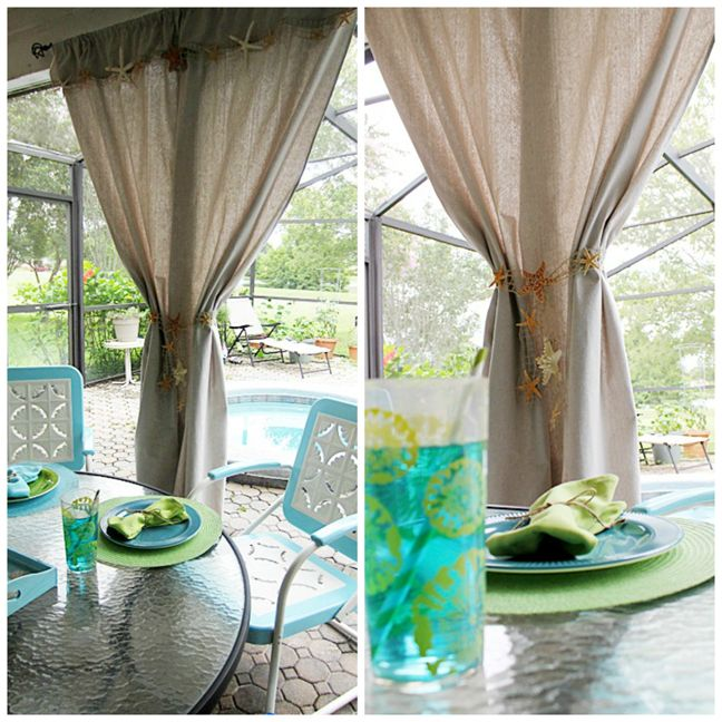 Diy Beach Inspired Patio Curtains From A Canvas Drop Cloth Burlap Garland Casual Elegance And