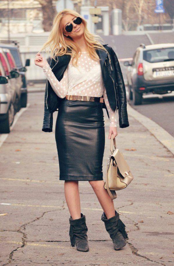 Les 25 meilleures id es concernant jupes crayon en cuir sur pinterest tenues jupe en cuir - Tenue avec jupe en cuir ...