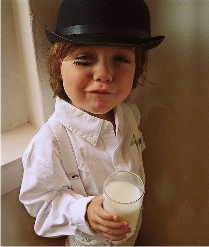There was me, that is Alex, and my three droogs, that is Pete, Georgie, and Dim, and we sat in the Korova Milkbar trying to make up our rassoodocks what to do with the evening. The Korova milkbar sold milk-plus, milk plus vellocet or synthemesc or drencrom, which is what we were drinking. This would sharpen you up and make you ready for a bit of the old ultra-violence.