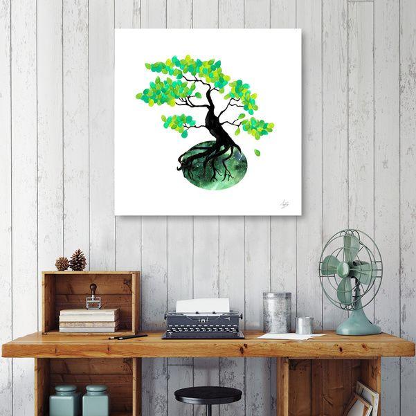 Discover «Organic Bonsai», Numbered Edition Aluminum Print by Amaya Brydon - From $59 - Curioos @curioos #bonsai #tree #nature Watercolor and digital illustration. Bonsai with green accents. #wallart #artprint #curioos #naturelover