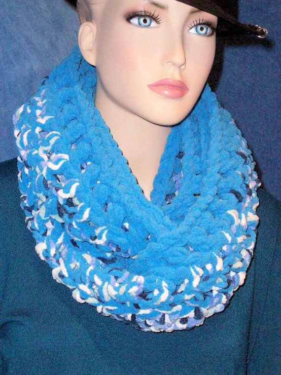 Hey, I found this really awesome Etsy listing at https://www.etsy.com/listing/231149923/blue-crochet-infinity-scarf-chunky