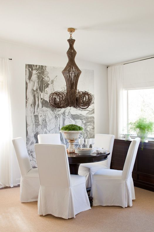 Eclectic Dining Room By Lauren Liess Interiors Chandelier Is Made Of Palm Wood And Ground Coconut Shell Beads