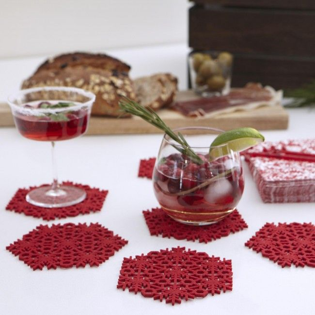Protect your tables while still adding a subtle touch of holiday decor withHarman Christmas Snowflake Felt Coasters. Available in Santa red & white, you get 6 of these festive, snowflake-shaped coasters for your guests, at a great price.    Whether you're looking for stocking stuffers, Secret Santa presents, festive Christmas decor or even gift cards, we have a huge selection of unique holiday stuff to make your days and nights merry and bright.