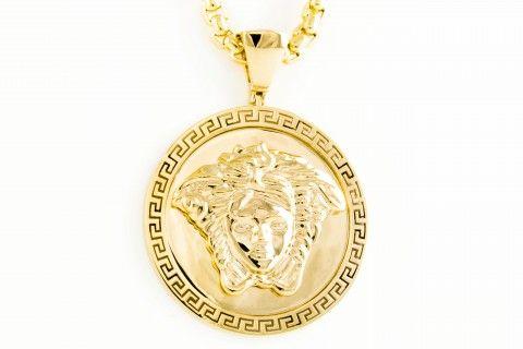 "Versace Jewelry for Men | Versace Style ""Medusa"" customized Mens Pendant"