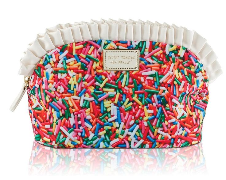Betsey Johnson KITSCH RAINBOW SPRINKLES Large Ruffle COSMETIC BAG BJ00055C #BetseyJohnson #CosmeticBags