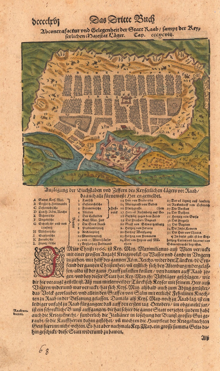 depiction of the siege of Győr (Raab), in Sebastian Muenster's 'Cosmographia' from around 1628.