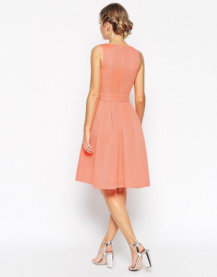 ASOS   ASOS Premium Mesh Folded Plunge Neck Debutante Dress at ASOS