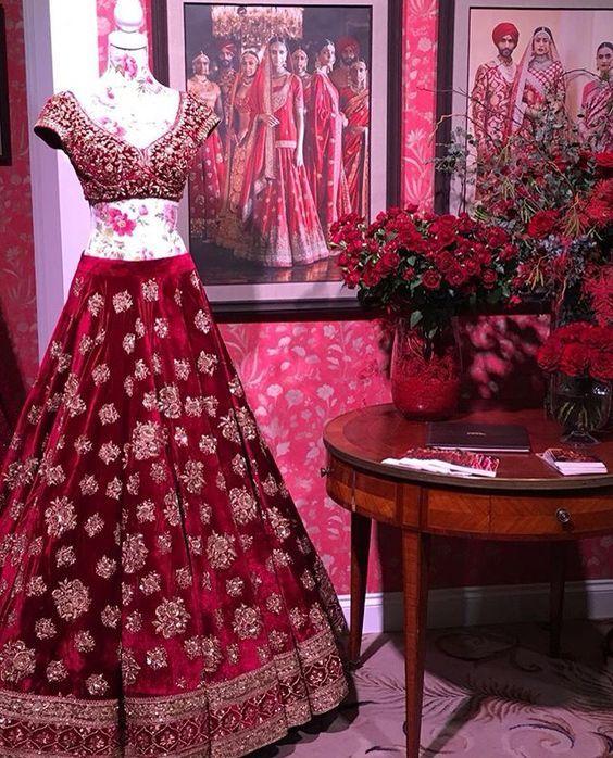 By designer Sabyasachi Mukherjee. Bridelan- Personal shopper & style consultants for Indian/NRI weddings, website www.bridelan.com #Bridelan #weddinglehenga #sabyasachi #sabyasachiweddinglehenga