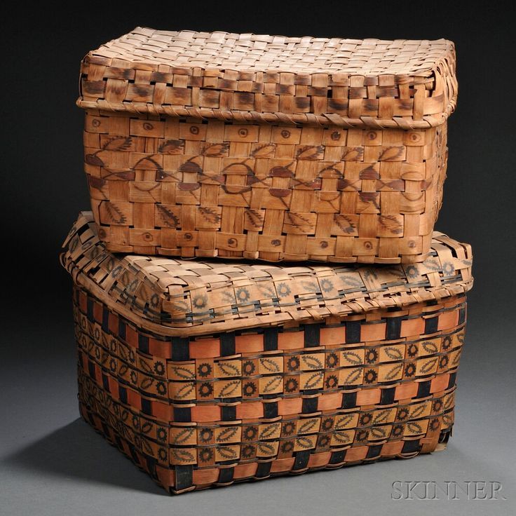 Two Northeast Polychrome Stamp Decorated Wood Splint Baskets