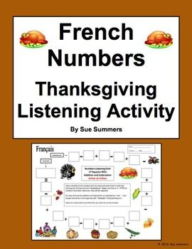 French Numbers and Math Listening Activity Thanksgiving Theme by Sue Summers