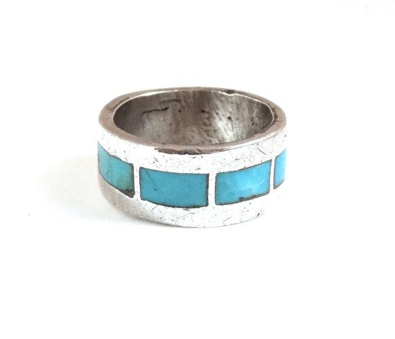 Vintage MENS TURQUOISE Ring Sterling Silver Wedding Band W Blue Turquoise Inlay Native American Size 6