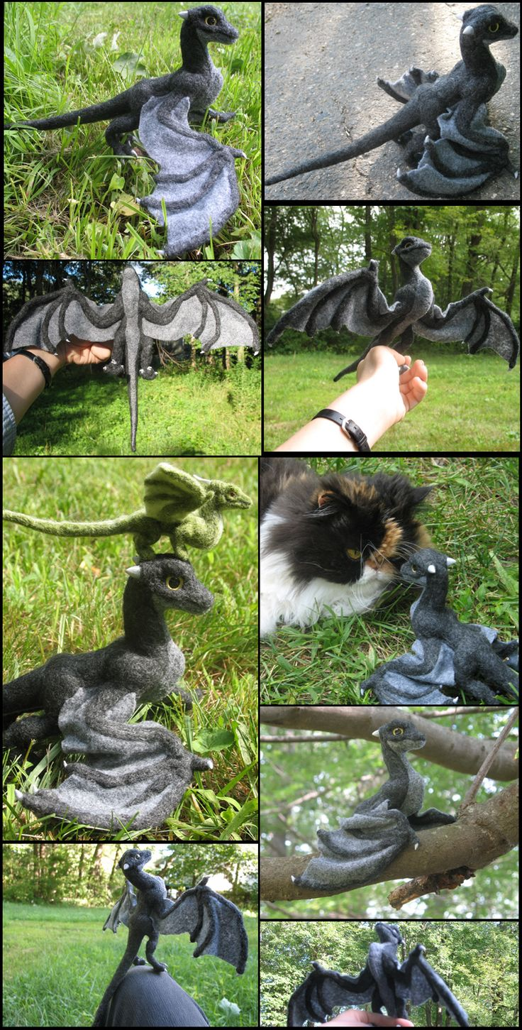 Felted black wyvern collage by ~tallydragon