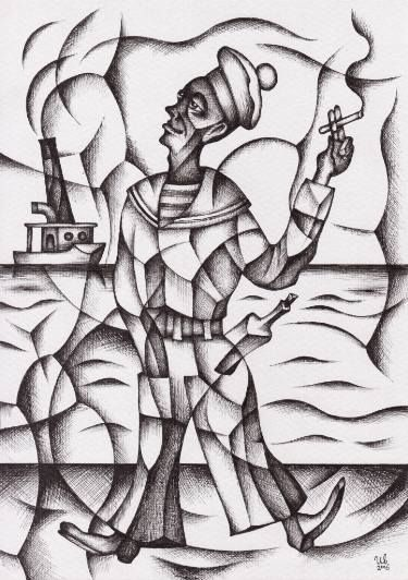 Sailor And Sea by #eugeneivanov, 29 X 41 cm, $235.  #@eugene_1_ivanov #modern #original #ink #painting #hipster #sale #art_for_sale #original_art_for_sale #modern_art_for_sale #ink_drawing_for_sale #art_for_sale_artworks #art_for_sale_ink #art_for_sale_artist #art_for_sale_eugene_ivanov #abstract #best_abstract_art #best_abstract_ink