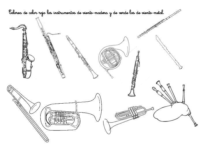 Colorea De Color Rojo Los Instrumentos De Viento 1 728 Jpg 253fcb 253d1301855779 728 515 Instrumentos De Viento Viento Actividades Musicales