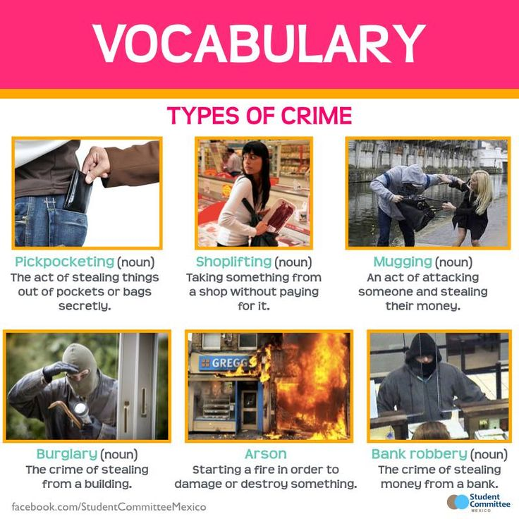 Crime Vocabulary -         Repinned by Chesapeake College Adult Ed. We offer free classes on the Eastern Shore of MD to help you earn your GED - H.S. Diploma or Learn English (ESL) .   For GED classes contact Danielle Thomas 410-829-6043 dthomas@chesapeake.edu  For ESL classes contact Karen Luceti - 410-443-1163  Kluceti@chesapeake.edu .  www.chesapeake.edu