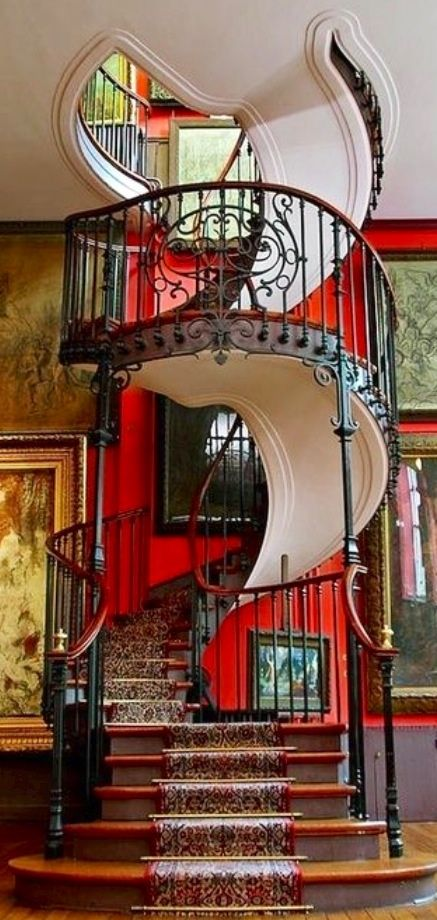 .colorful and winding staircase
