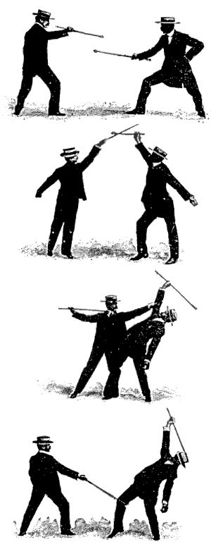 """Self Defence with a Cane"" Part One of Two -  - this original 1901 article by  E.W. Barton-Wright on the art of Bartitsu or ""The Different Methods of Defending Oneself with a Walking-Stick or Umbrella when Attacked under Unequal Conditions""  - JNC stands for the Journal of Non-lethal Combatives and here's the real source for Sherlock Holmes' preferred method of self defense  (defence).  :)"