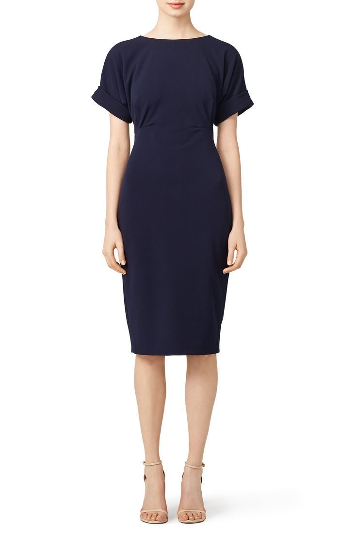 Rent Navy Cuff Sleeve Dress by Badgley Mischka for $50 only at Rent the Runway.