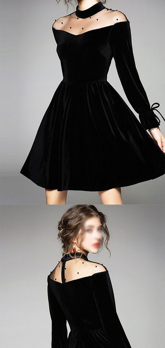 charming black round neck long sleeves a line homecoming