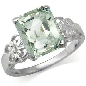 3.73ct. Green Amethyst & White Topaz 925 Sterling Silver Cocktail Ring Silvershake. $35.99