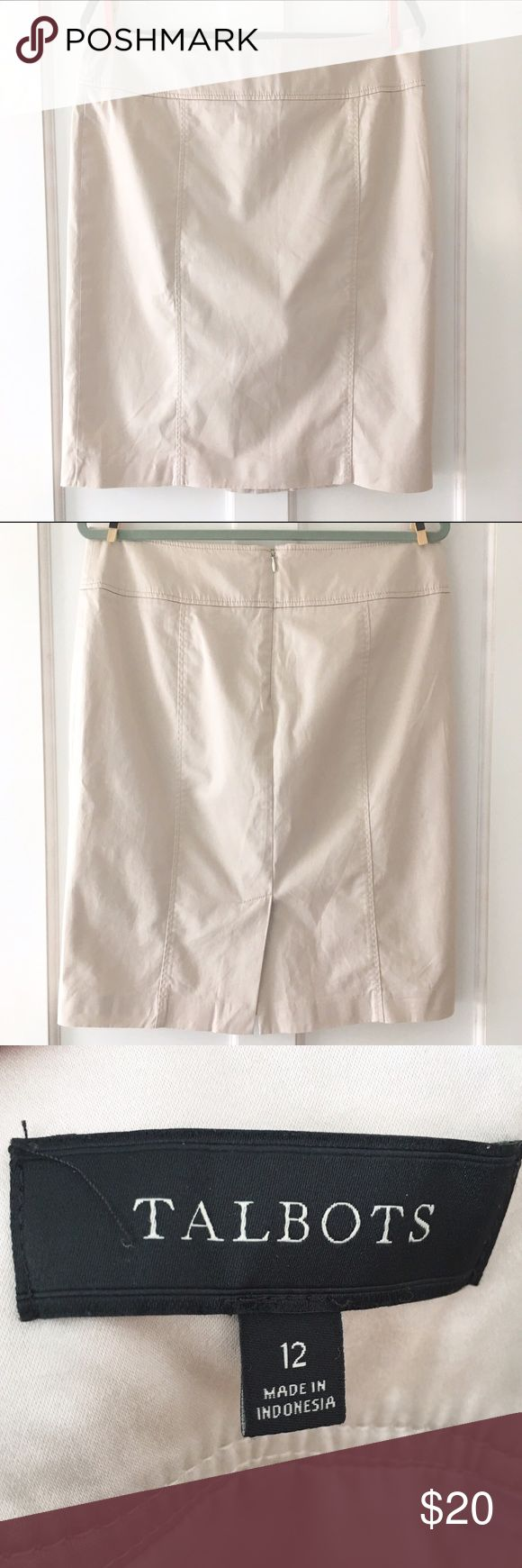 Talbots Khaki Pencil Skirt A classic! Talbots khaki pencil skirt. Fully lined, back zip. Like new. Talbots Skirts Pencil