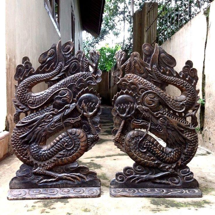 """2 Pcs Antique Dragon 17"""" Teak Wood Carving Panel Statue Table Decor #WCS11"""