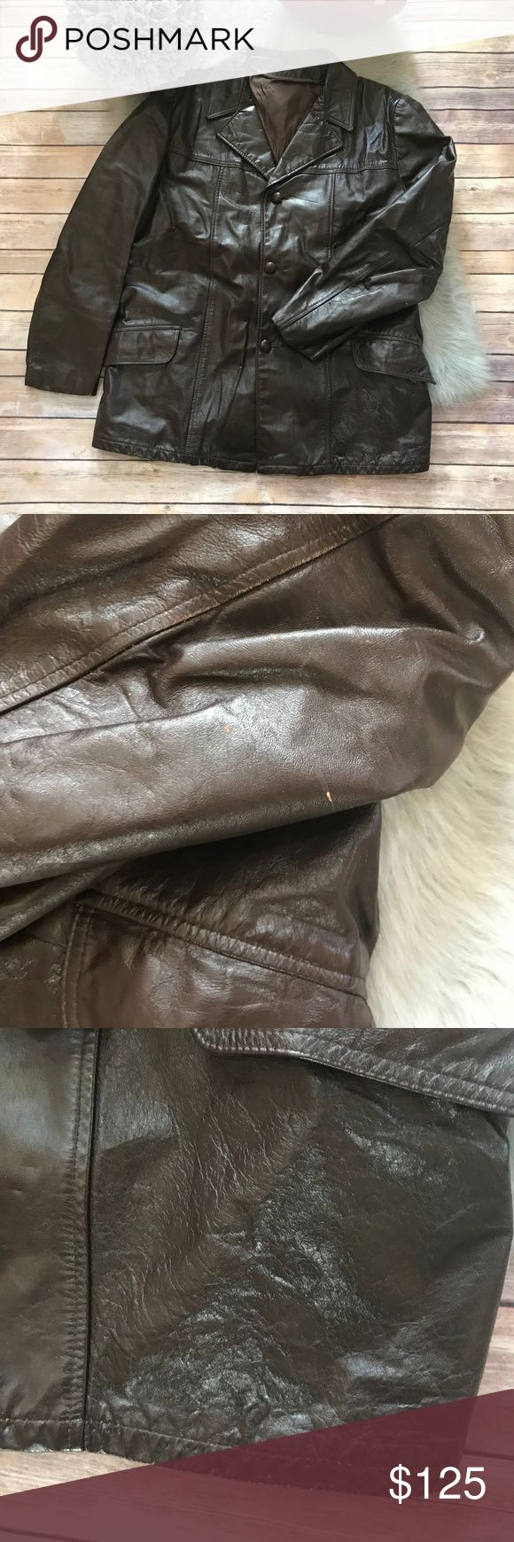Vintage Chocolate Brown Leather Jacket Coat Blazer Vintage Chocolate Brown Leather Jacket Coat Blazer  No brand.   Originally had a zip out lining or trim. Buttons & pockets. Tag says it should be taken or mailed to Leathercraft Process in NYC for best cleaning results, but alas, they are out of business. Some wear to leather as shown in pics.  May be more that I did not see but overall, very good vintage condition. No size tag but my husband wears a large and it fits him well (thin and…